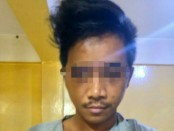 Tersangka UP (26) salah satu pelaku perampokan yang rekaman CCTV nya Viral di media sosial di Jembatan Besi Jakarta Barat diketahui positif narkoba - foto: Istimewa/Koranjuri.com