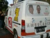 Mobil ambulans berlabel Gerindra yang diamankan polisi saat kerusuhan aksi 22 Mei di Jakarta - foto: Istimewa