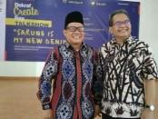 Anggota Komisi X DPR RI, Bambang Sutrisno, bersama Muhammad Amin, Kasubdit Edukasi Ekonomi Kreatif Untuk Publik Bekraf, saat menjadi pembicara dalam Talk Show bertemakan 'Sarung is My New Denim', Kamis (27/6), di Plaza Hotel Purworejo - foto: Sujono/Koranjuri.com