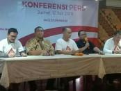 Konferensi pers acara Visi Indonesia sebagai pesta rakyat yang akan diisi dengan pidato Presiden Joko Widodo dan doa bersama yang dipimpin oleh Wapres terpilih KH Amin Ma'aruf di SICC Sentul, Bogor pada Minggu 14 Juli 2019 - foto: Bob/Koranjuri.com