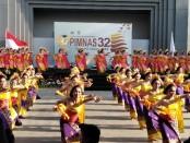 Tari pembuka PIMNAS Ke-32 oleh 140 Penari Pendet yang dilakukan di Pedestal Garuda Wisnu Kencana (GWK), Selasa, 27 Agustus 2019 - foto: Koranjuri.com