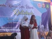 Penampilan salah satu siswa dalam Lomba Kreasi Seni Islami Khitobah di SMK Kesehatan Purworejo, Selasa (5/11) - foto: Sujono/Koranjuri.com
