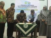 Penandatanganan MoU dalam rangka pengembangan SDKUB Muhammadiyah Purworejo, antara Universitas Muhammadiyah Purworejo dengan SDKUB Muhammadiyah Purworejo, Selasa (14/1/2020) - foto: Sujono/Koranjuri.com