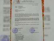 Surat penundaan persertifikatan tanah ayahan desa yang dikeluarkan oleh Desa Adat Gianyar - foto: Catur/Koranjuri.com