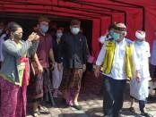 Menteri Pekerjaan Umum dan Perumahan Rakyat (PUPR) Basuki Hadimoeljono saat mengunjungi Stadion Kapten I Wayan Dipta, Kamis (6/8/2020) - foto: Catur/Koranjuri.com