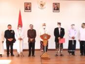 Unsur Parisadha Hindu Darma (PHDI) , Majelis Desa Adat (MDA) dan Forum Komunikasi Umat Beragama (FKUB) Provinsi Bali  merilis SE Bersama dalam menyikapi lonjakan kasus covid-19 di Bali, Senin, 14 September 2020 - foto: Istimewa