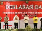 Mengawali hari pertama kampanye, tiga paslon Bupati dan Wabup Purworejo di Pilkada Purworejo 2020, deklarasikan Kampanye Damai di Ganesha Convention Hall, Sabtu (26/09/2020) - foto: Sujono/Koranjuri.com