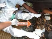 Petugas kepolisian dan Puskesmas saat memeriksa jenazah korban, Minggu (6/12/2020) - foto: Catur/Koranjuri.com