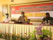 Suasana rapat koordinasi lintas sektoral persiapan Operasi Lilin Agung 2020 bertempat di Aula Tribrata Polres Gianyar, Kamis (17/12/2020) - foto: Catur/Koranjuri.com