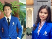 Dua dari tujuh mahasiswa ITB STIKOM Bali peserta Program Kampus Mengajar, Made Puri Adnyani Mahadewi dan Ketut Adi Mardana - foto: Istimewa