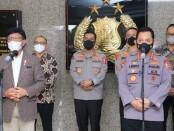 Kapolri Jenderal Listyo Sigit Prabowo usai menerima kunjungan Menteri Komunikasi dan Informatika (Menkominfo), Johnny G. Plate di Gedung Utama Mabes Polri, Jakarta Selatan, Selasa (4/5/2021) - foto: Istimewa