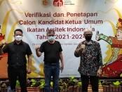 Ketiga kandidat ketua Umum IAI yang mendapatkan perolehan suara setelah seleksi melalui tahapan penjaringan di Munas IAI XVI tahun 2021 di Kuta, Bali, Senin, 30 Agustus 2021 - foto: Koranjuri.com