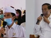 Presiden Joko Widodo berdialog secara virtual bersama seorang warga Sumberklampok, Kecamatan Gerokgak, Buleleng, Rabu, 22 September 2021 - foto: kolase