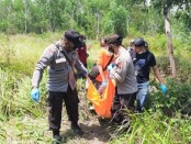 Proses evakuasi korban, yang ditemukan sudah tak bernyawa di perbukitan Sinalang,  Desa Kaligesing, Kecamatan Kutoarjo, Purworejo, Jateng, Sabtu (18/09/2021) - foto: Sujono/Koranjuri.com
